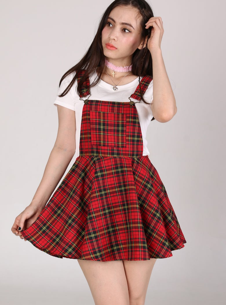 Image of Red Tartan Pinafore