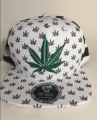 Image of GREEN WHITE STRIPE KUSH SNAP BACK HAT