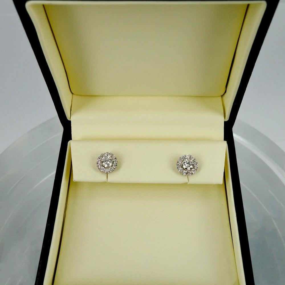 Image of 18ct White Gold Cluster Diamond Earrings