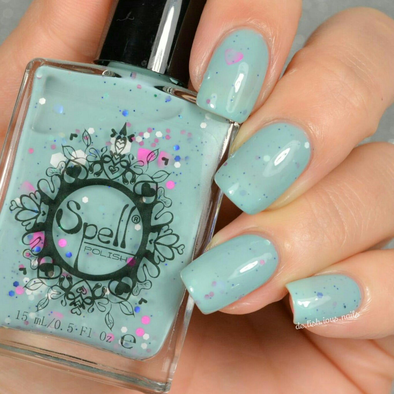 clue in the canopy milky blue jade crème glitter spell nail