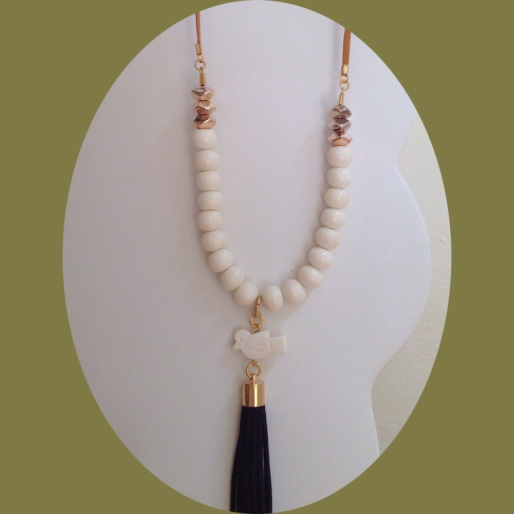Image of Cream bone bead necklace