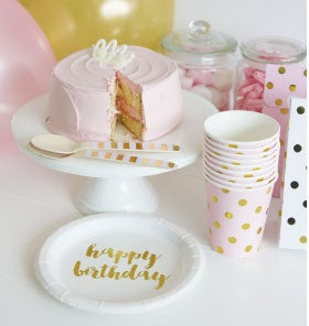 Image of {Gold} Foil Happy Birthday Cake Plates