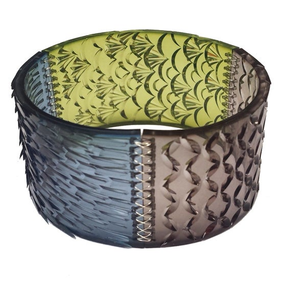 Image of swatch cuff - chartreuse, dark ocean + graphite