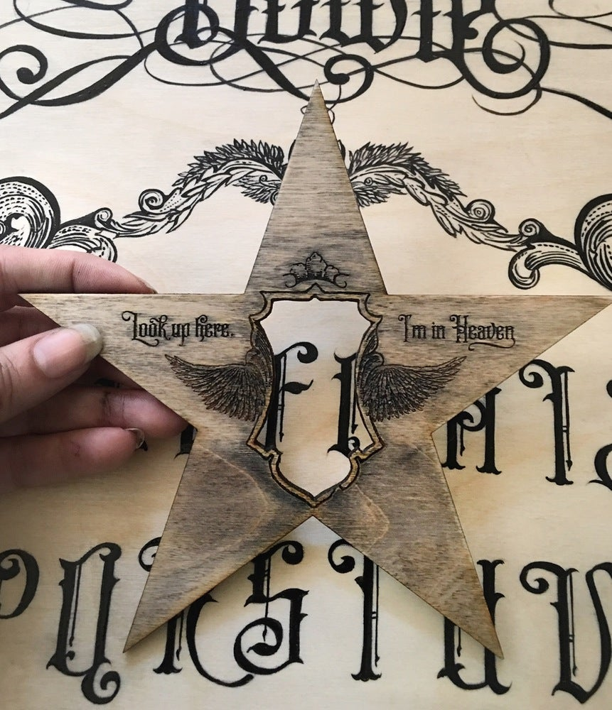 Image of Bowie Ouija Board Wood Hybrid Print and Hand Painted Graphics (limited ed, 1 left)