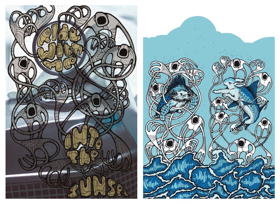 "Image of Alex Diamond Silkscreen print bundle: ""Hase + Igel"" & ""Ride With Me"""