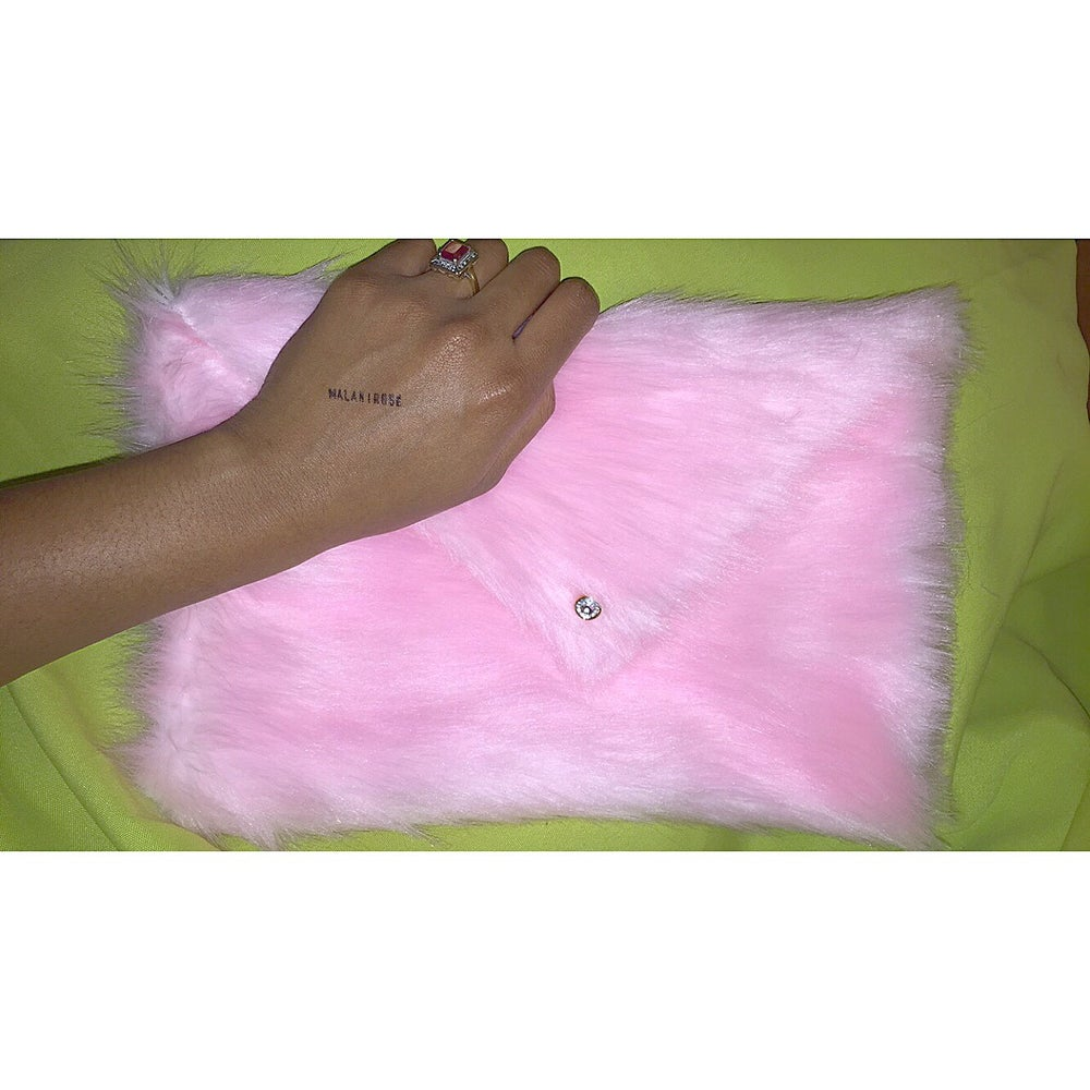 Image of Fur Clutch in Blush Pink