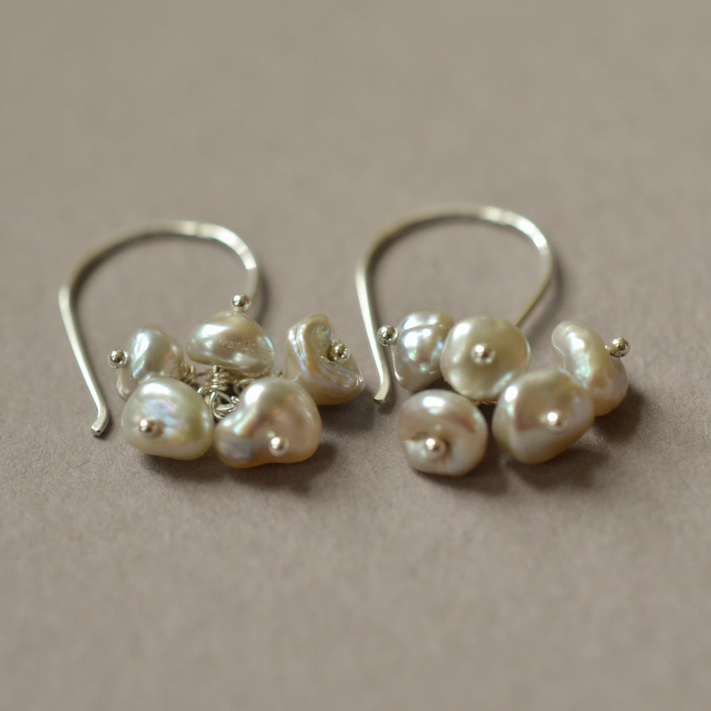Image of Gray cultured freshwater keshi pearl cluster dangle