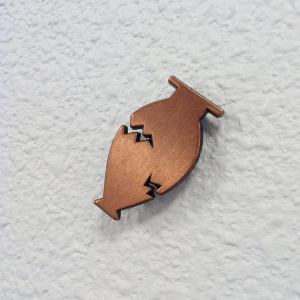 Image of Broken Vessel die cut pin (3 colors available)