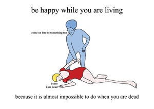 Image of Be happy while you are living