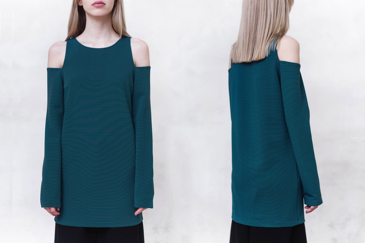 Image of Rib Cold Shoulder Top