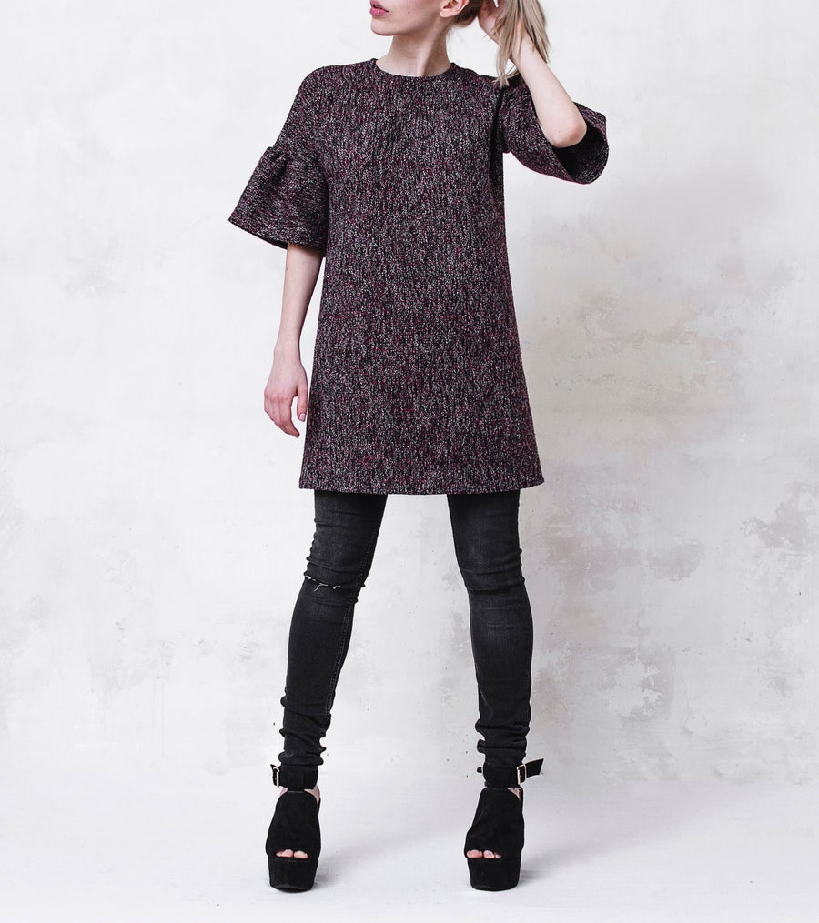 Image of Flared Sleeve Shift Dress