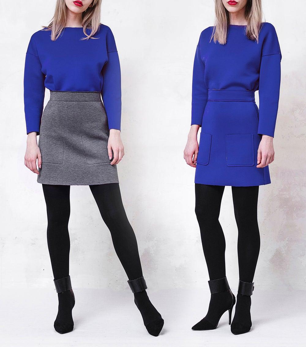Image of Reversible Scuba Mini Skirt