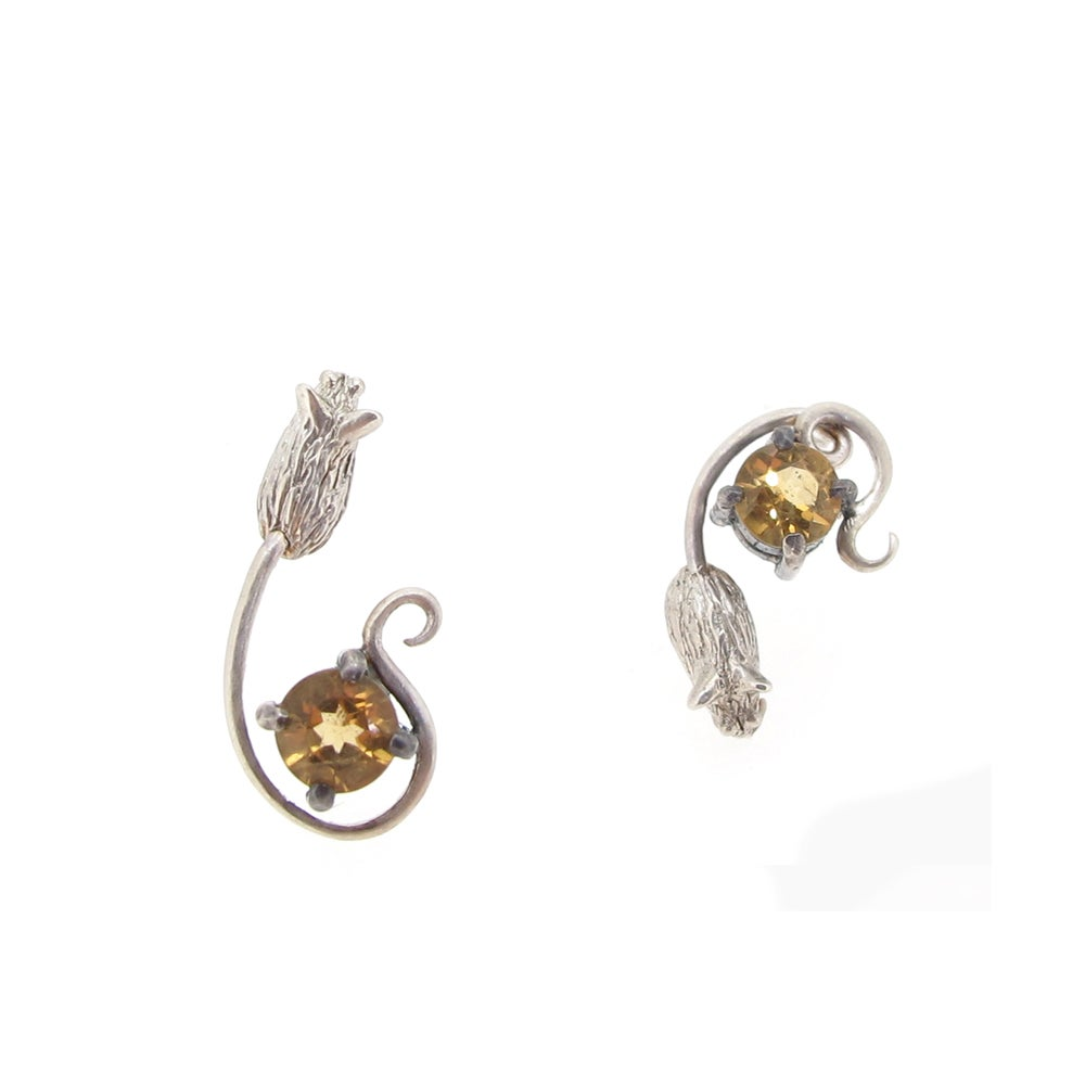 Image of {NEW} Asymmetric Citrine Mouse Earrings