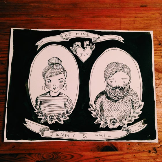 Image of Black and white ink double couple portrait