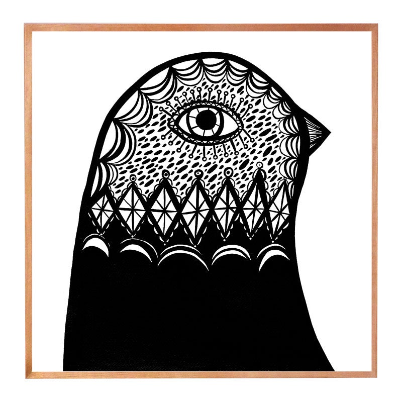 Image of Black & White Bird Head facing right
