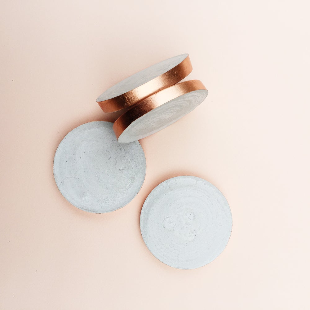 Image of Concrete Coasters | Raw + Copper (set of 4)