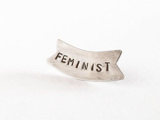 Image of Feminist Banner pin
