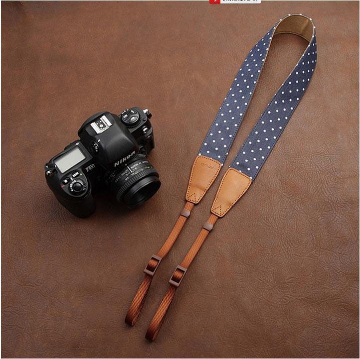 i-Cam — Cowboy DSLR Strap White Dot lovely strap Handmade Leather ...