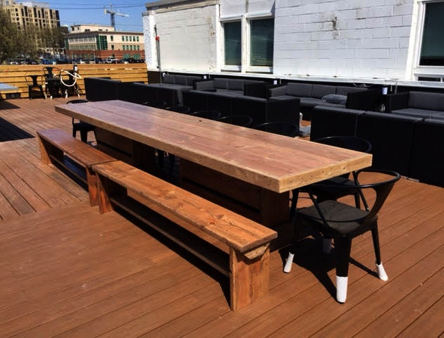 Image Of 10u0027 PATIO SET / OUTDOOR DINING TABLE WITH BENCHES ...