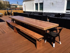 Image of 10' PATIO SET / OUTDOOR DINING TABLE WITH BENCHES