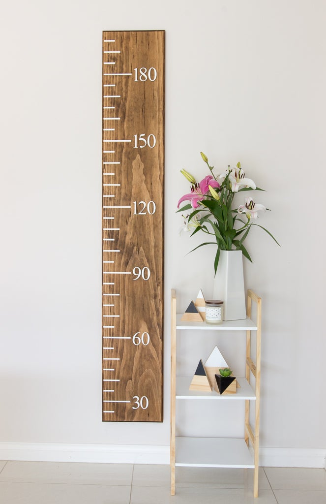 Image of Timber Growth Chart, Standard Width, Walnut Stain