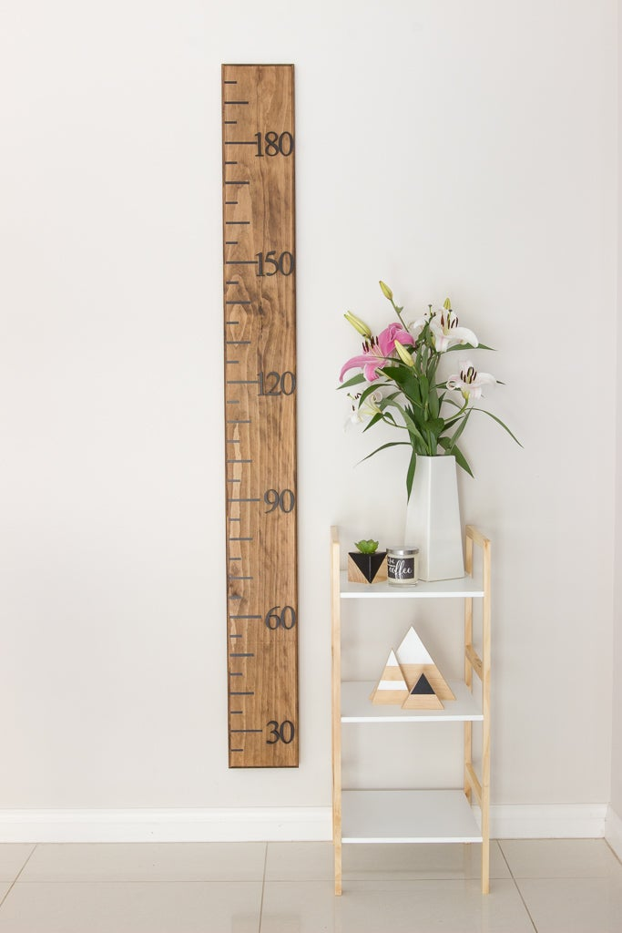 Image of Timber Growth Chart, Narrow Width, Walnut Stain