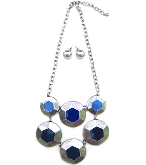Image of Abstract Multi Disc Necklace Set