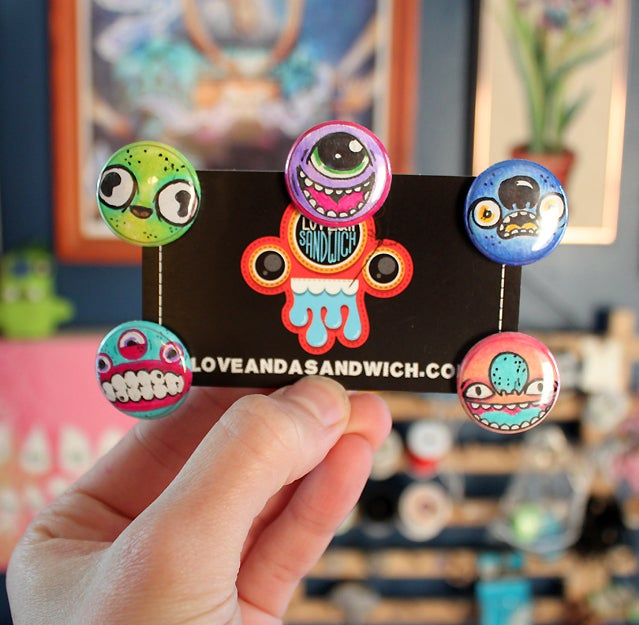 Image of Handdrawn Monster Button Pack
