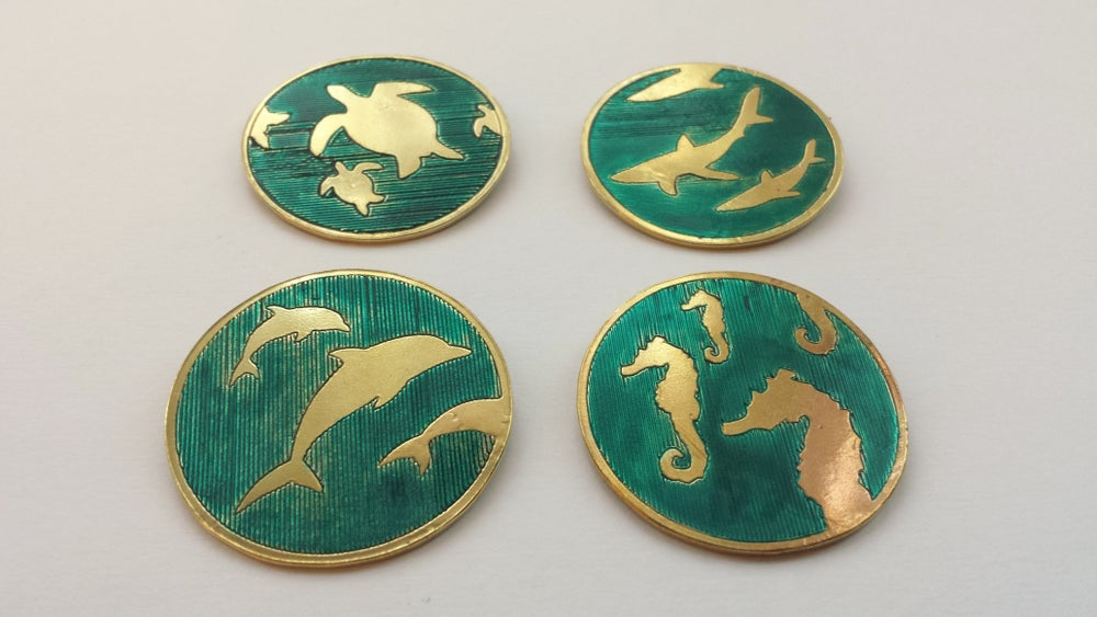 "Image of Engraved Brass ""Marine Life"" Brooch (With Enamel)"