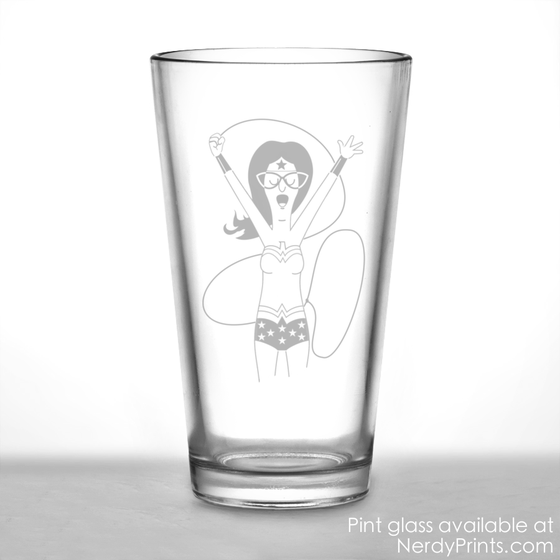 Image of Bob's Burgers Inspired Pint Glass - Linda Belcher as Wonder Woman