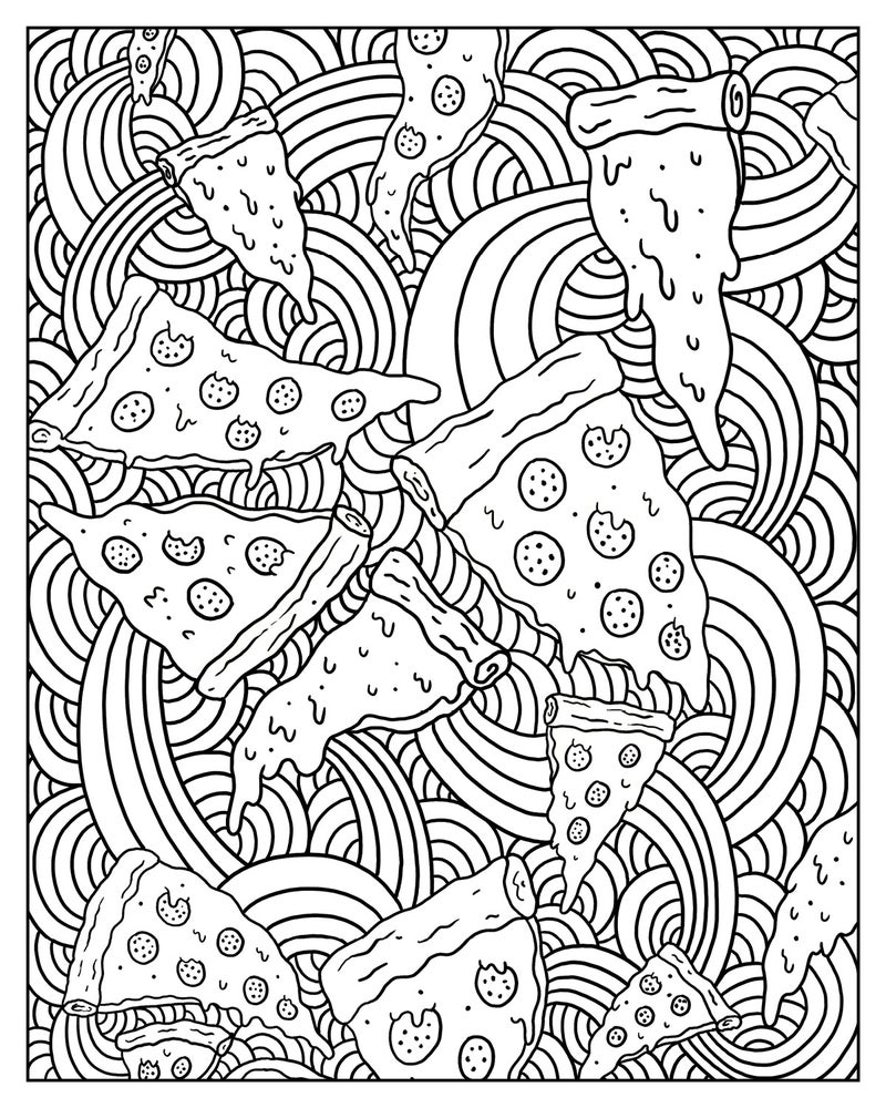 image of zen and the pizza ful mind a pizza themed adult coloring book