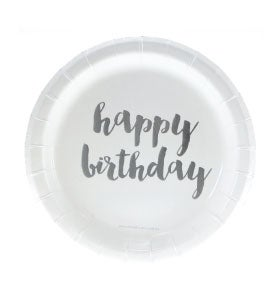 Image of {Silver} Foil Happy Birthday Cake Plates