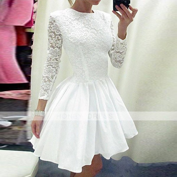 Image of 2016 White Lace Long Sleeves A-line Cocktail Dress With Round Neckline
