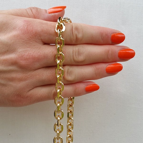 """Image of GOLD Chain Purse Strap - Diamond Cut Rolo Chain - 3/8"""" (9mm) Wide - Choose Length & Clasps"""