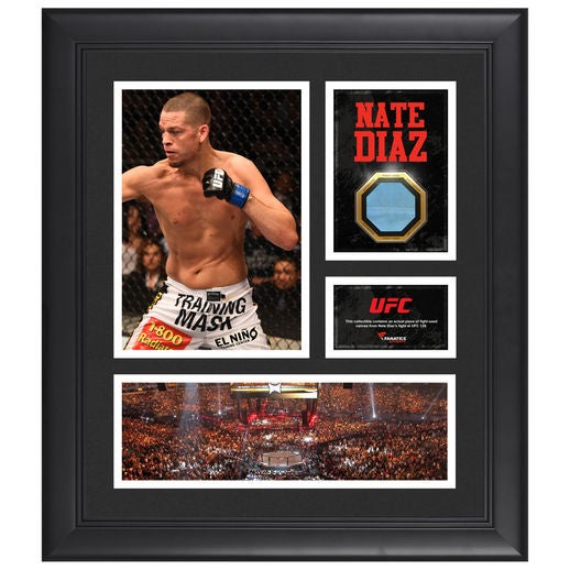 Image of Fanatics Authentic Nate Diaz UFC Framed 15 x 17 Collage with Match-Used Canvas from UFC 129