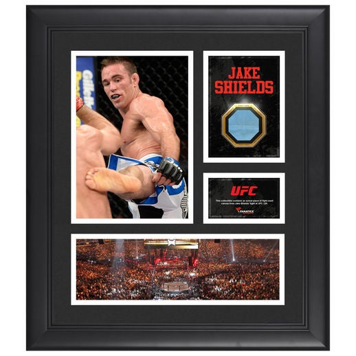 Image of Fanatics Authentic Jake Shields UFC Framed 15 x 17 Collage with Match-Used Canvas from UFC 129