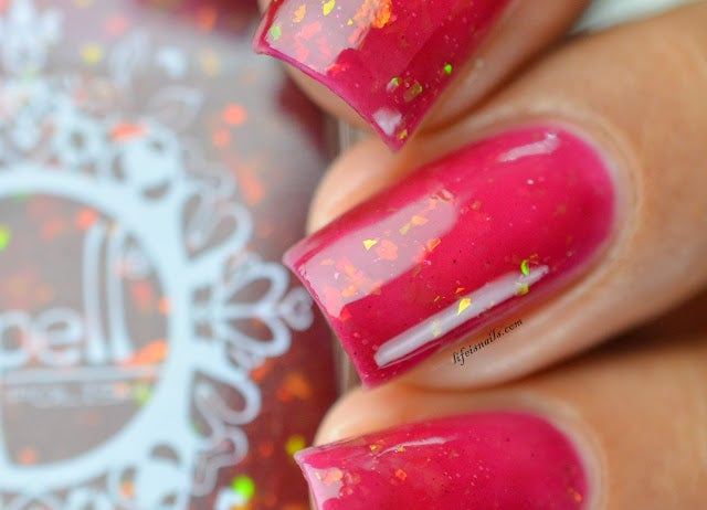 "Image of ~Under the Floorboards~ red jelly topcoat iridescent flakies Spell nail polish ""Dollhouse Mischief""!"