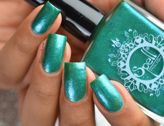 "Image of ~The Creaky Chair~ jade/turquoise chrome w/silver flakies Spell nail polish ""Dollhouse Mischief""!"