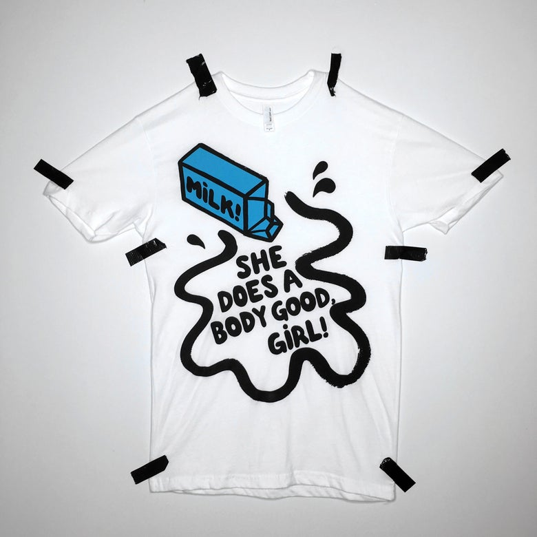 Image of spilled MILK tee - white