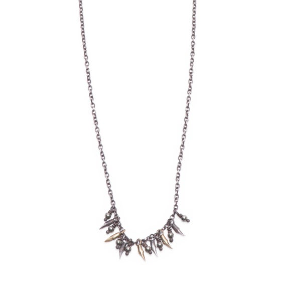 Image of 7 branch & bead drop necklace  (P106SILBRA1824)