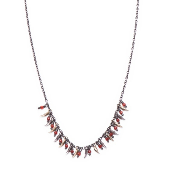 Image of 15 branch & bead drop necklace (P105SILBRA1826)