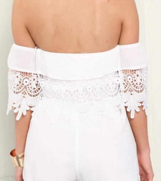 Image of FASHION OFF  SHOULDER LACE ROMPER
