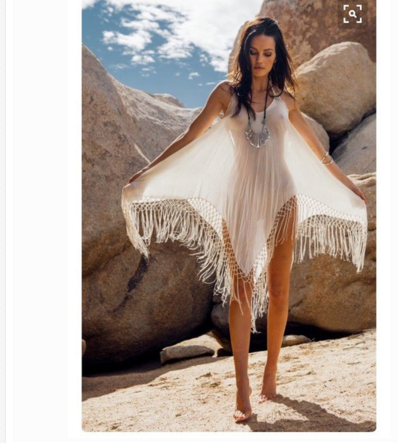 Image of Irregular fringed harness dress beach dress
