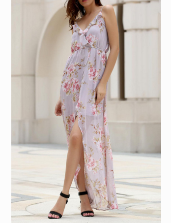 Image of HOT FLOWER CHIFFON FLORAL BEACH DRESS