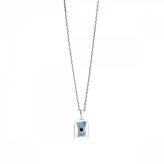 Image of Collier OLYMPIA rectangle plaqué argent vieilli