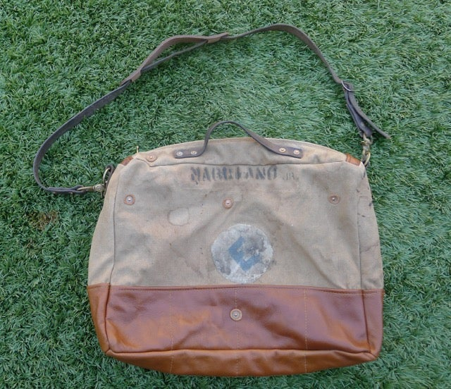 Image of VINTAGE MILITARY CANVAS AND LEATHER SHOULDER BAG