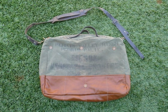 Image of STENCILED MILITARY CANVAS AND LEATHER SHOULDER BAG