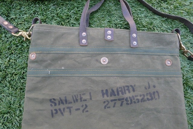 Image of VINTAGE MILITARY CANVAS AND LEATHER SQUARE BOTTOM TOTE #1