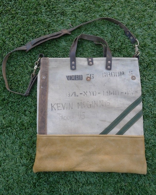 Image of VINTAGE MILITARY CANVAS AND LEATHER SQUARE BOTTOM TOTE #2