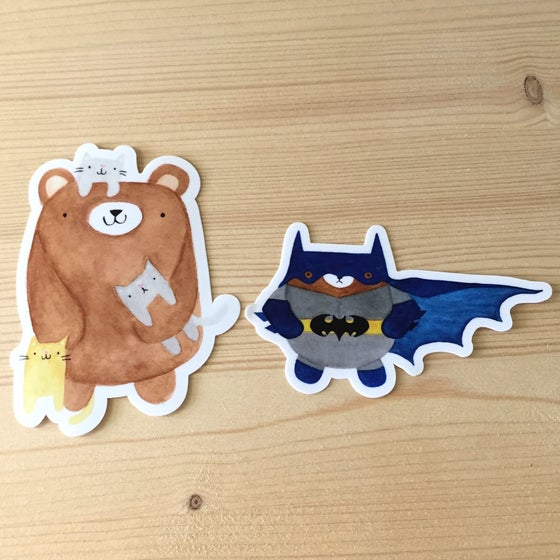 Image of crazy cat + bat bear vinyl stickers